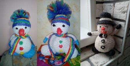 Вязание крючком из мусорных пакетов: 3 снеговика