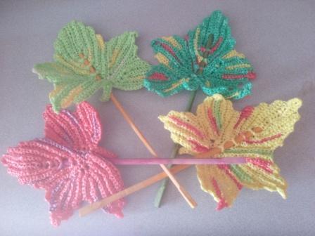 Вязание из пакетов мастер класс: осенние листья