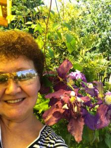 Цветы клематис в саду у сестры - моя сестра